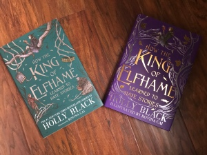 Owlcrate teal cover of HtKoELtHS on the left and the Fairyloot purple cover on the right