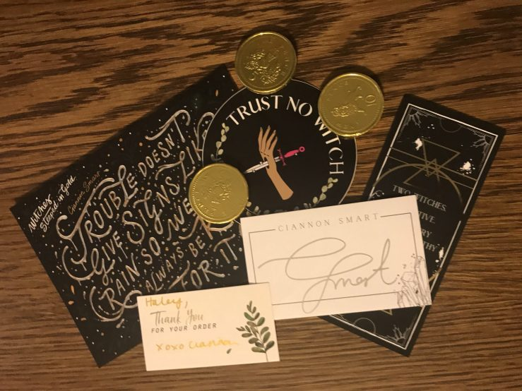 Witches Steeped in Gold art print, sticker, book plate, bookmark, and gold coins x3, with thank you card