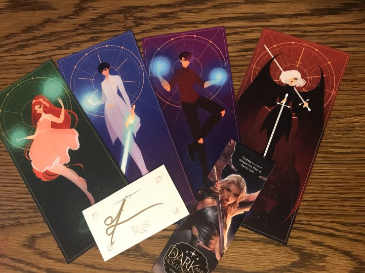 A Dark and Hollow Star character bookmarks x4, bookplate, and extra bookmark